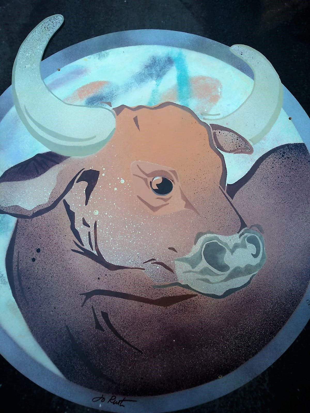 Image of Jo Ruth's painted Ox disc