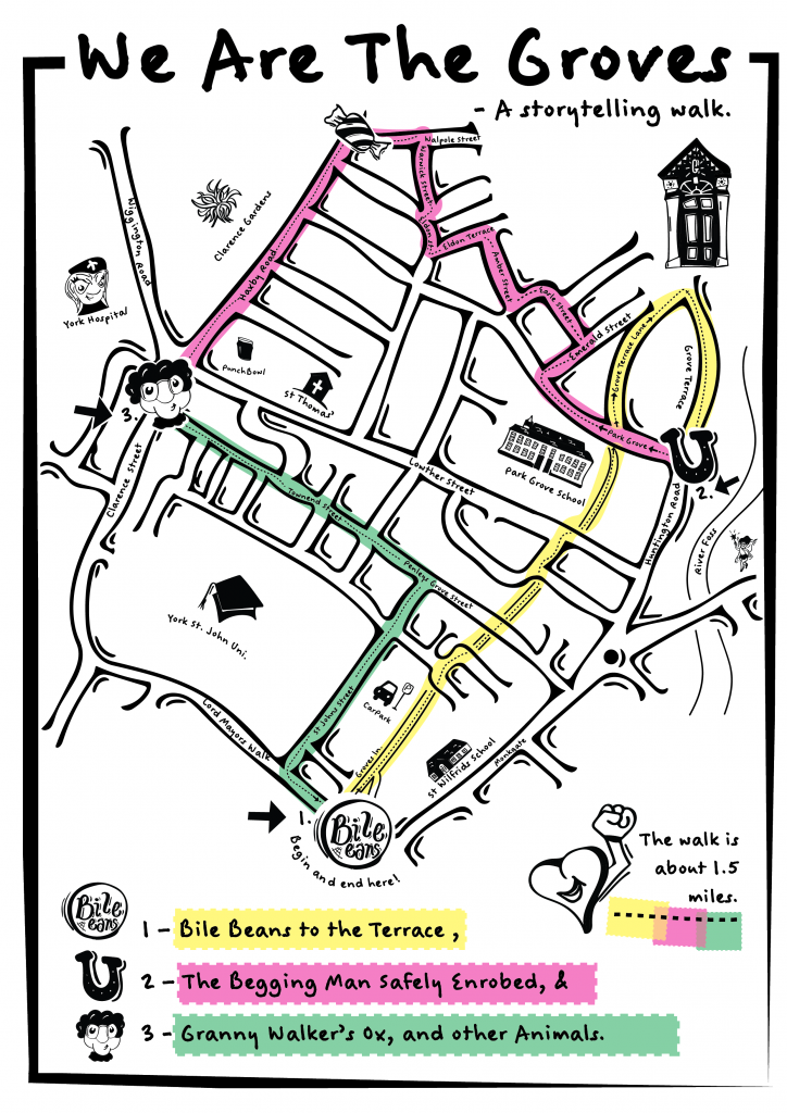 Image of the Map of the We Are The Groves Storytelling Walk.