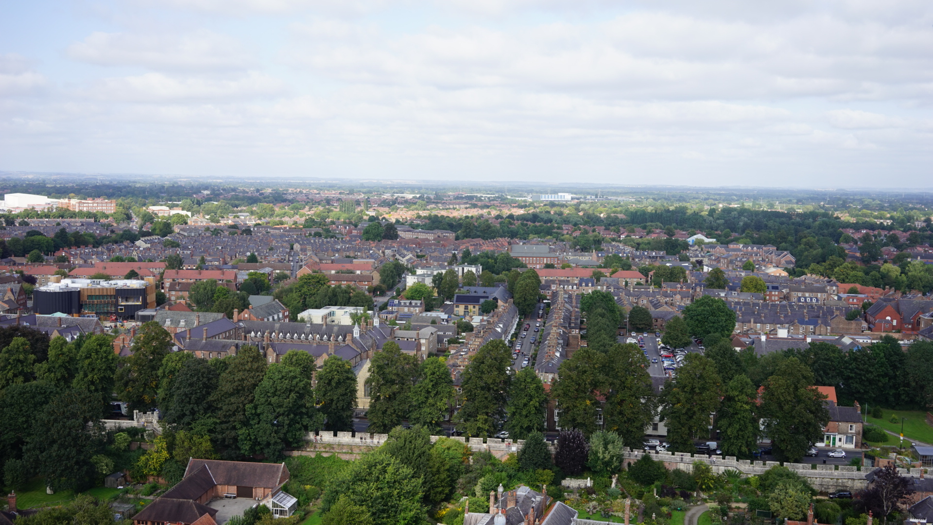 Aerial view of the Groves area of York, taking from the Minster tower.